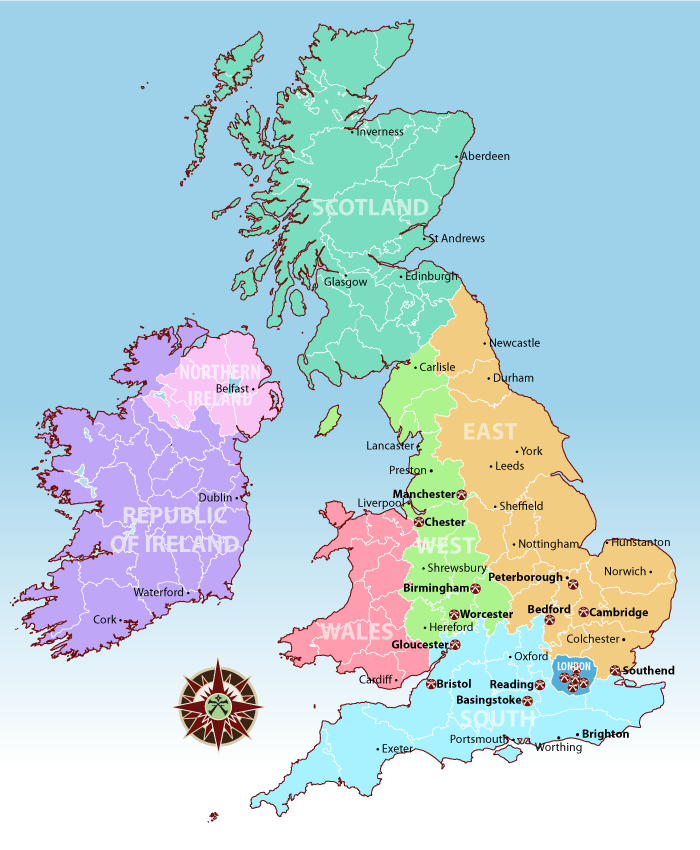map of pathfinder areas uk